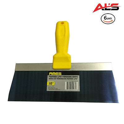 """AMES 10"""" Feather-Lite Blue Steel Drywall Finishing Knife - 6 Pack - NEW"""