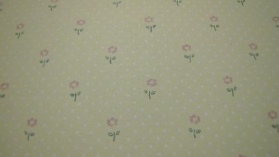 """Pre-pasted Pink Flowers Wallpaper - Dollhouse Miniatures - 18"""" x 11""""- NOS"""