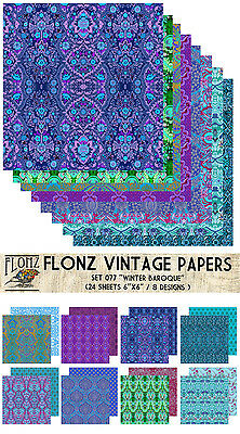 "Paper 24sh 6""x6"" # Winter Baroque Pattern Vintage # FLONZ 077 Craft Scrapbooking"