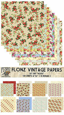 "Paper 24sh 6""x6"" # Rose Vintage Patterns Flowers # FLONZ 081 Craft Scrapbooking"
