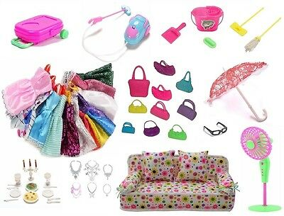 52 pcs/lot Doll Accessories, Dresses, Cleaning Kit, Dollhouse Furniture & more