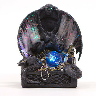 Dragon Statue on Treasure Hoard with Colour Changing Fibre Optic Lights