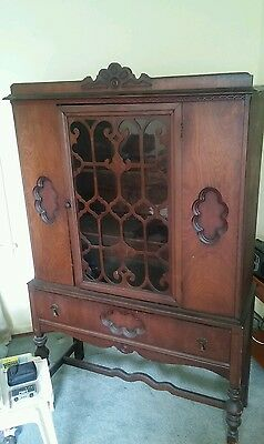 008 Vintage Early 1900's Curio China Cabinet Press
