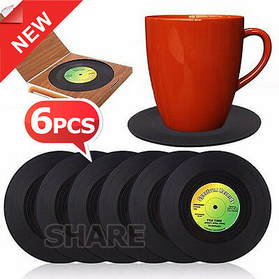 6in1 Retro Vinyl Drinking Drink Beer Glass Record Coasters Set Novelty Gifts