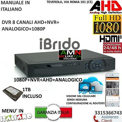 DVR 8 Canali AHD  CON HARD DISK 1000GB P2P CLOUD WEB SERVER PTZ HDMI IBRIDO