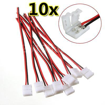 10 x 8mm Female 2 Pin STRAIGHT Connector + Wire For Led Strip Light RGB5050 3528