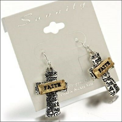 Faith 2 Tone Silver Gold Cross Western Cowgirl Jewelry Spiritual Earrings Cute