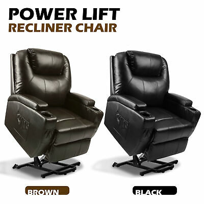 Power Lift Recliner Chair Armchair Sofa Real Leather Elderly Seat Brown/Black
