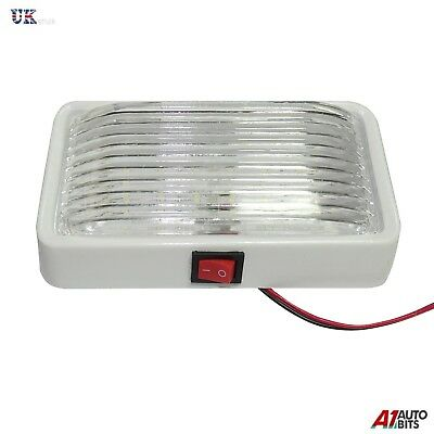 1x 12 LED 12V White Interior Ceiling Dome Light Lamp 150mm Long Car Van Caravan