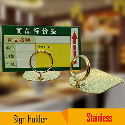 Stainless Steel Bakery Bread Shop Card Clip Stand Photo Memo Multiple Use Holder