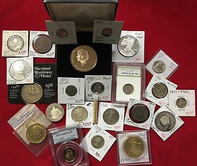ESTATE SALE LOT WITH OLD US COINS  - GOLD, SILVER, 163 Year Old Coin!!