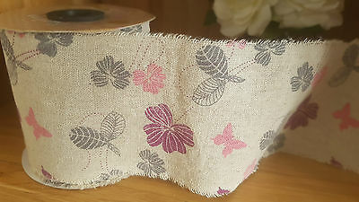 Floral & Butterfly burlap ribbon 50mm x 7m  - reduced to clear