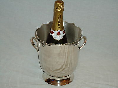 Silver Plated Champagne Wine Cooler Ice Bucket With Floral Design -Pub Bar