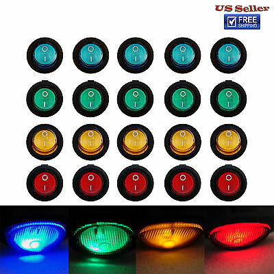 20PCS Color LED Light DC 12V 20A Round Rocker ON/OFF SPST TOGGLE SWITCH Car Boat