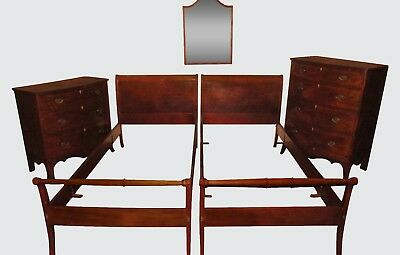 Federal Style 6 Piece Custom Mahogany Inlaid Bedroom Set - Danersk Furniture Co