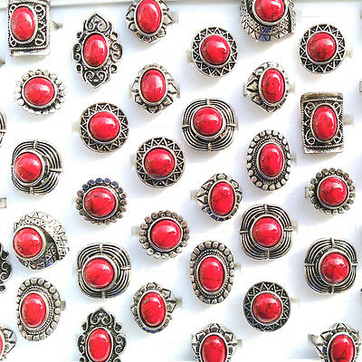 Big Red Turquoise Rings Antique Silver Gemstone Ring Adjustable 50pcs/lot