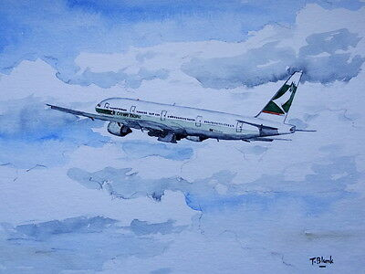 ORIGINAL AQUARELL - Cathay Pacific, Boeing 777-300.