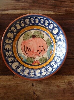 Art Pottery Dish With Pumpkin Decoration