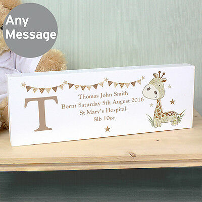 Personalised GIRAFFE Mantle Block, NEW BABY Gift, Christening gift, Nursery Gift