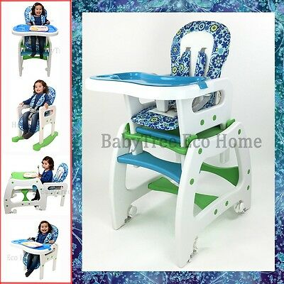 New Design 4in1 Adjustable Baby High Chair Dinning Set Rocking Horse Study Table
