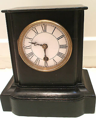 "Marble Effect Enamelled Face Count Wheel Timepiece Clock GWO 8.5""H 8""W 5""D"