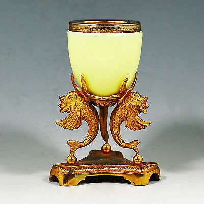 Vintage to antique French sculptured gild ormolu & chartreuse opaline glass vase