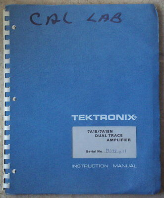 Tektronix 7A18/7A18N Dual Trace Amplifier Instruction Manual very good condition
