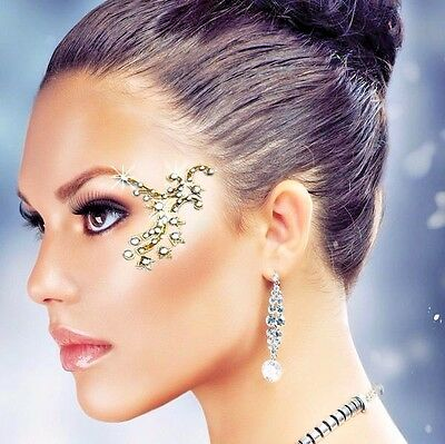 Eye Corner Face Decoration Clear Gems / Gold Temporary Crystal Stickers (F)