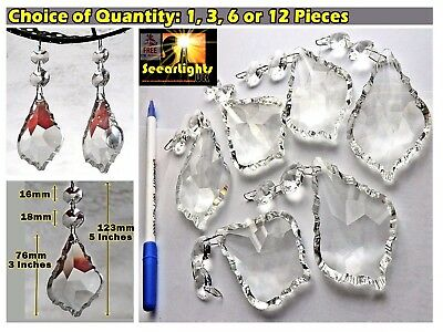 Xl Prisms Chandelier Drops Cut Glass Crystals Antique Look Leaf Droplets 5 Inch
