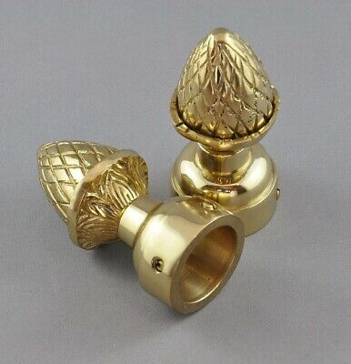 """CURTAIN ROD FINIALS-PAIR (2)-25mm-SOLID POLISHED BRASS """"ACORN"""" style-pineapple"""