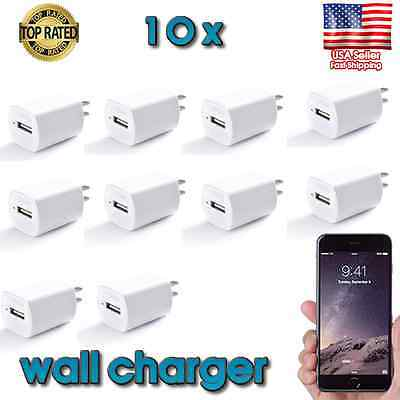 10x 1A USB Wall Charger  AC Power Adapter US Outlet FOR iPhone 3 4 5 6+plus 7