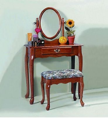 Oak Bedroom Vanity Set Bathroom Make Up Bath Makeup Dressing Table Stool Dresser