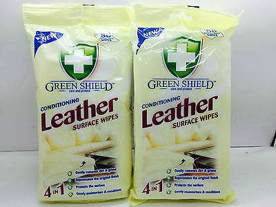 2 x GreenShield Leather Conditioning Cleaning Surface Large Wipes 50 Sheets each