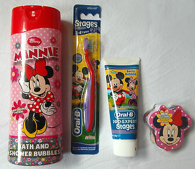 Disney Minnie Mouse -4pc Set- Bath & Shower, Magic Cloth, Toothpaste, Toothbrush