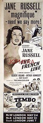 The FRENCH LINE Original 1954 Film Advert  - Jane Russell Movie Ad