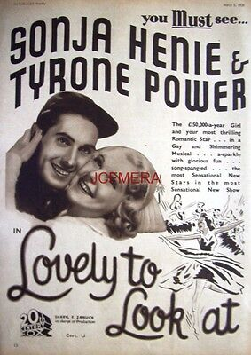 LOVELY TO LOOK AT Original 1938 Film Advert - Sonja Henie Movie Ad