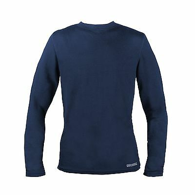 Omniwool Men's Crew Top Quick -Dry Stretch Fabric Navy Sz Large Free Shipping