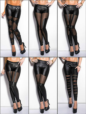 Sexy Wetlook Leggings Lederlook Leggins Hose Wet Leder Optik glänzend schwarz
