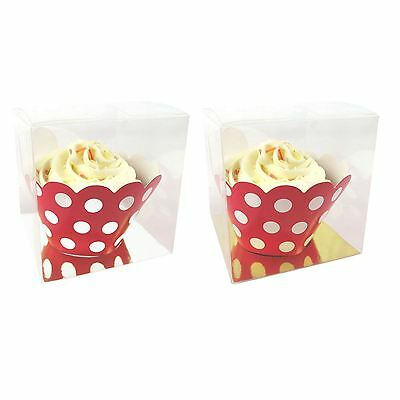 8cm Clear Cube Cupcake Box with Flat Insert! Large PVC Wedding Part Favours
