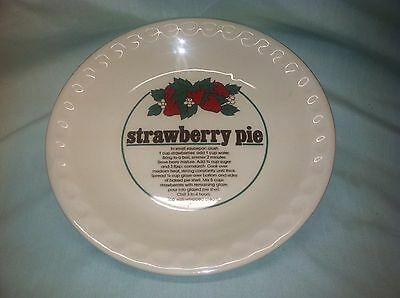 Mount Clemens Pottery Made In China Strawberry Pie Plate with Recipe