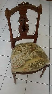Antique French Louis XVI Chair Tapestry Carved Empire Regency Greyhound Ship
