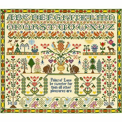BOTHY THREADS PAINS OF LOVE SAMPLER CROSS STITCH KIT by MOIRA BLACKBURN
