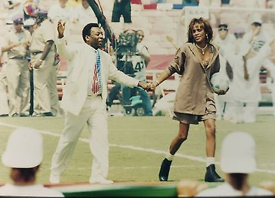 """WHITNEY HOUSTON & PELE in """"The World Cup Football"""" - Original 35mm COLOR Slide"""