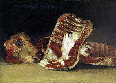 Oil painting Francisco de Goya A Butcher's Counter with still life steak canvas
