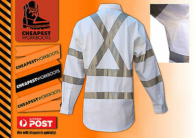 Long Sleeve White Hi Vis Shirt with X Tape NIGHT WORKS SHIRT RTA RMS REFLECTIVE