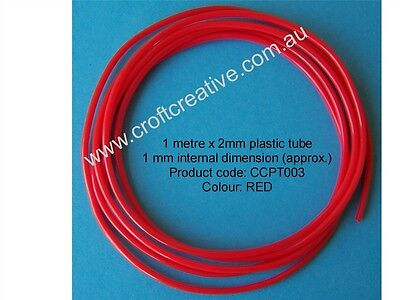 RED PLASTIC TUBE CRAFT / JEWELLERY / FISHING TACKLE / WEAVING -1M x 2MM (003)