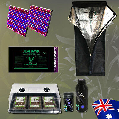 Hydroponics Mylar Grow Tent LED Kit 36 Coco Cell Dome Heat Mat  Indoor Cloning