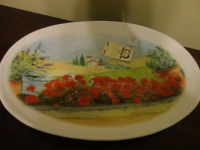 """Ceramica Cuore Italy Pottery Oval  Platter Tuscan Scene 18"""" Long X 13"""" Wide New"""