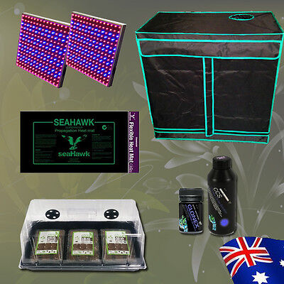 Hydroponics Grow Tent Seedling Dome Heat Mat Nutrients LED Panel Cloning Combo