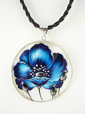 Blue Poppy Pendant Necklace Shell Mother Of Pearl Hand Painted Handmade